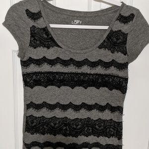 Loft Grey Top with Black Lace